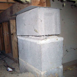 Collapsing crawl space support pillars Evansville