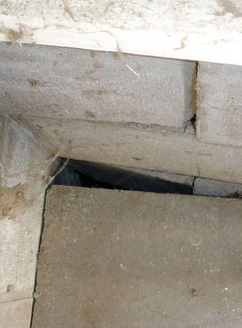 inward rotation of a foundation wall damaged by street creep in a garage in Thermopolis