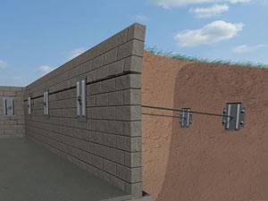 A graphic illustration of a foundation wall system installed in Banner