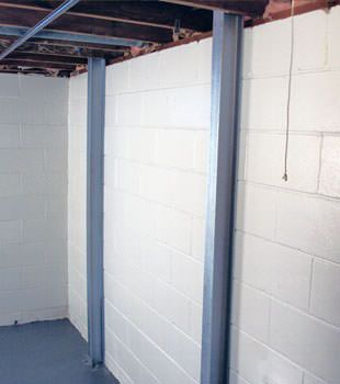 A PowerBrace™ i-beam foundation wall repair system in Cheyenne
