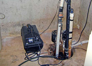 Pedestal sump pump system installed in a home in Douglas
