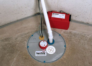 A sump pump system with a battery backup system installed in Wilson