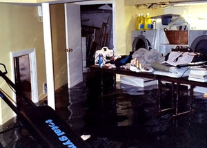 A laundry room flood in Torrington, with several feet of water flooded in.