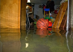 A flooded basement bedroom in Parkman