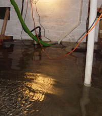 Several feet of floodwaters in a Alcova basement