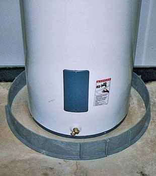 An old water heater in Newcastle, WY with flood protection installed