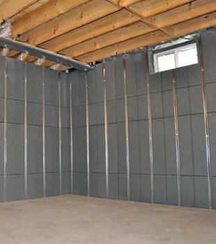 Installed basement wall panels installed in Riverton