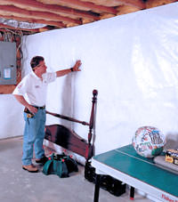 Plastic 20-mil vapor barrier for dirt basements, Jackson, Wyoming installation